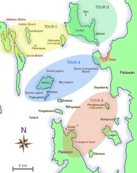 El Nido Island Hopping Tour Map